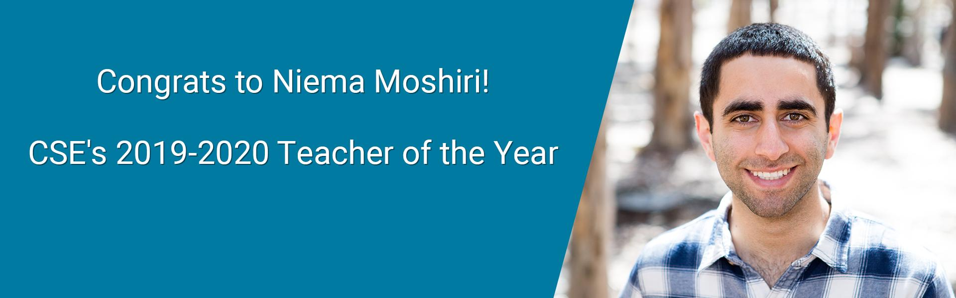 Congrats to Niema Moshiri: CSE's Teacher of the Year